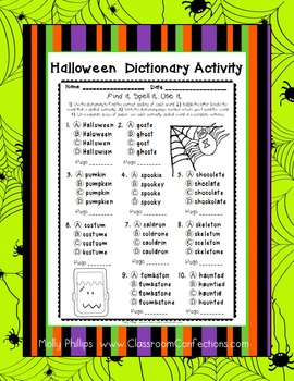 Halloween Spelling and Dictionary Activity