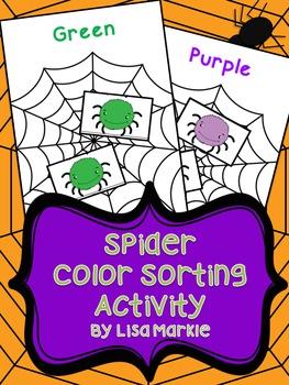Halloween Spider Color Sorting Activity for Preschool