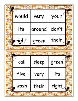Halloween Spider Dolch Second Grade Sight Word Bingo Game