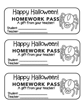 """Halloween"" Spider - Homework Pass –Holiday FUN! (black line version)"