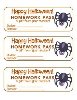 """Halloween"" Spider - Homework Pass – Holiday FUN! (full color version)"