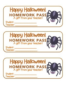 """Halloween"" Spider - Homework Pass – Holiday FUN! (full co"