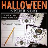 Halloween Spider Sort - Short and Long Vowel Word Sorting Activity