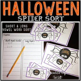 Halloween Spider Sort - Short and Long Vowel Word Sorting