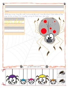 Halloween Spider Trace and Cut - Fine Motor Skills Practice - Halloween
