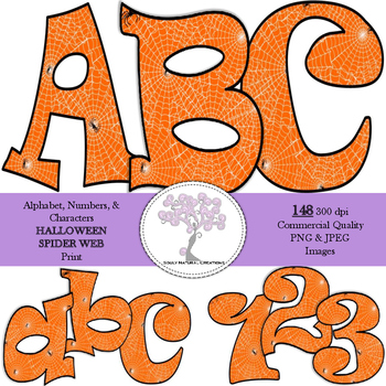 Halloween Spider Web Alphabet, Numbers, & Characters