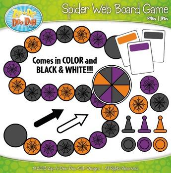 Halloween Spider Web Build A Board Game Clipart {Zip-A-Dee-Doo-Dah Designs}