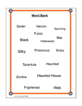 Halloween Spider Writing Picture Prompt