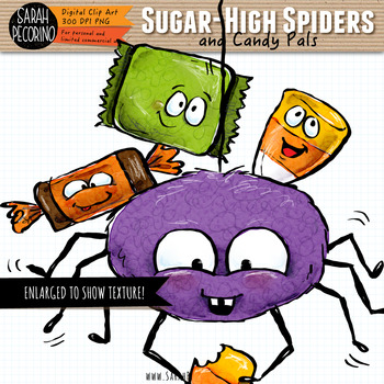 Halloween Clip Art: Spiders and Candy Pals