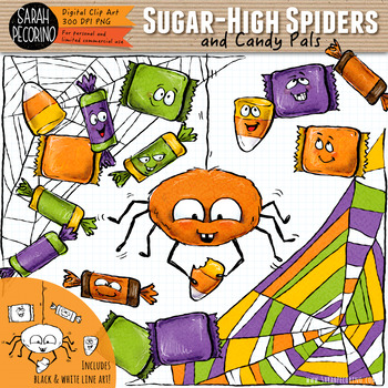 Halloween Spider and Candy Clip Art