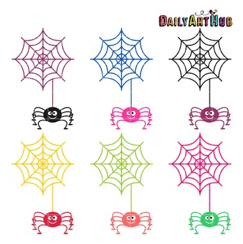 Halloween Spiders Clip Art - Great for Art Class Projects!