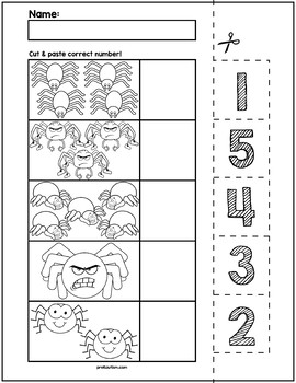 Halloween Spiders Cut & Match Worksheets   Numbers 1-5