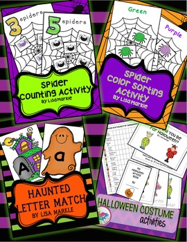 Halloween Spiders and Ghosts Math and Literacy Preschool BUNDLE