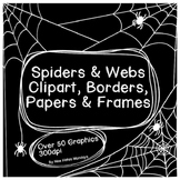 Halloween Spiders and Spider Webs - Clipart, Borders, Pape