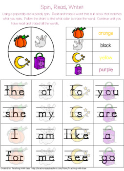 Halloween Spin, Read, and Rainbow Write Sight Words