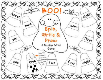 Halloween Spin, Write & Draw BOO! A Number Word Activity