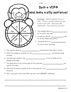 Halloween Spin a Verb and Make a Spooky Sentence Spinner Activity