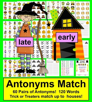 Halloween Activities Literacy Centers - SPOOK-tacular Antonyms!  60 Pairs