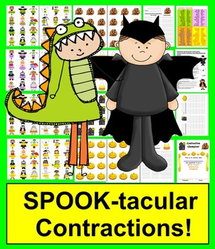Halloween Literacy Centers Spook-tacular Contractions - 48 Pairs