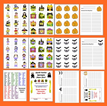 Halloween Literacy Centers Spook-tacular Synonyms - 60 Pairs