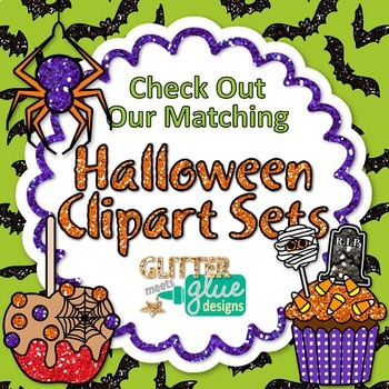 Halloween Alphabet & Numbers Clip Art {Glitter Letters for Classroom Decor}