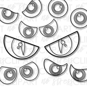 Halloween Spooky Eyes Clip Art Digital Use Ok Tpt
