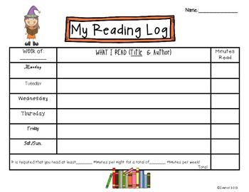 Halloween Spooky Kids Reading Logs: Daily and Monthly Recording Sheets ELA