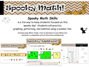 WHITEBOARD Spooky Math Skills - Addition, Number Line, Patterning, and Graphing
