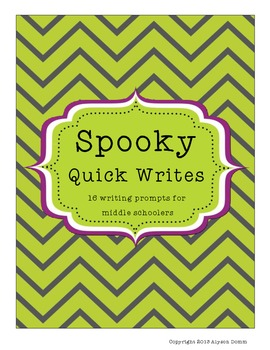 Halloween- Spooky Quick Writes for Middle Schoolers