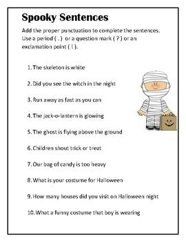 Halloween Spooky Sentences