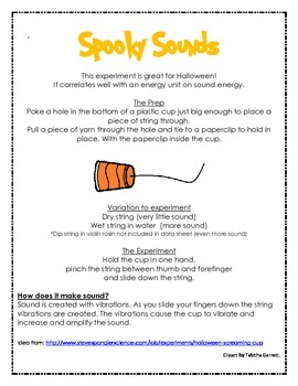 Halloween Spooky Sound Cups Experiment Data sheet