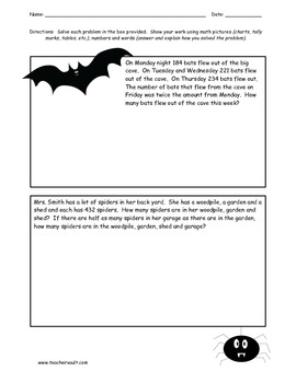 Halloween Spooky Story Problems - Multi-step Word Problems