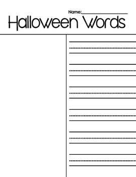 Halloween Stamping Record Sheet