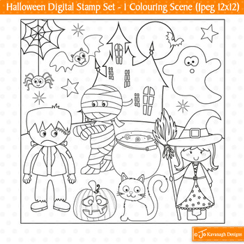 Halloween Stamps, Halloween Clip Art, Halloween Colouring (S28)