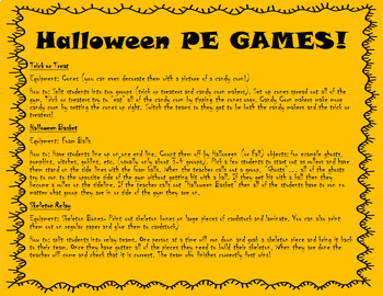 Halloween PE Fun (Stations and Games)