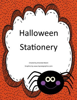 Halloween Stationery with Borders to Color!  Perfect for Work on Writing
