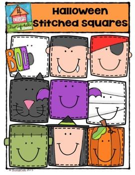 Halloween Stitched Squares {P4 Clips Trioriginals Digital Clip Art}
