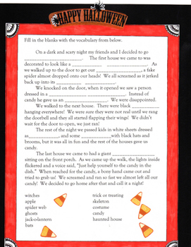Halloween Story Fill-in-the-Blank with flashcards