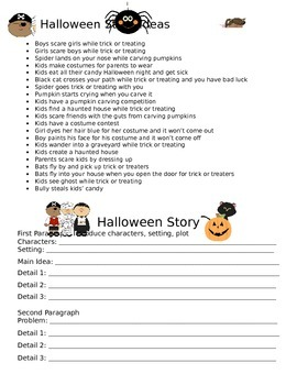 Halloween Story Ideas and Graphic Organizer