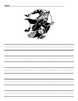 Halloween Story Papers with Handwriting Lines