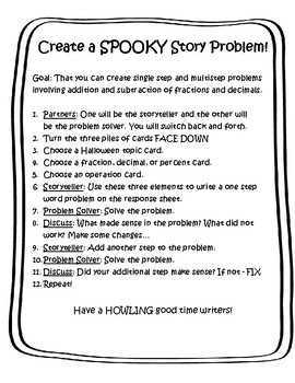 Halloween Story Problem Activity
