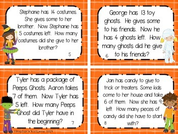 Halloween Story Problems (Add to, Take from, Compare, Unknowns in all positions)