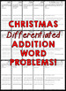 Christmas Story Problems (Differentiated Addition Word Problems)