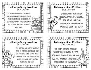 Story Problem Task Cards - Halloween