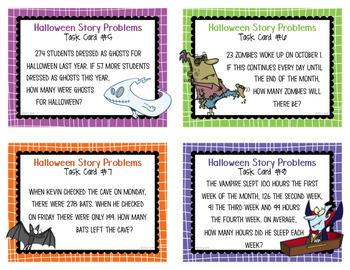 Story Problem Task Cards Halloween