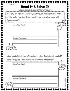 halloween story word problems multiplication and division tpt. Black Bedroom Furniture Sets. Home Design Ideas