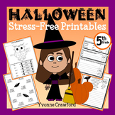 Halloween NO PREP Printables - Fifth Grade Common Core Math and Literacy