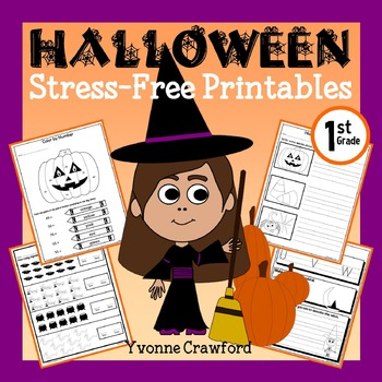 Halloween NO PREP Printables - First Grade Common Core Math and Literacy