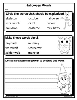 Halloween NO PREP Printables - Second Grade Common Core Math and Literacy