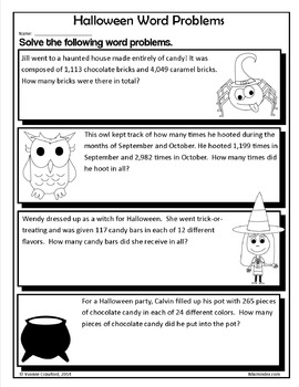 Halloween NO PREP Printables - Sixth Grade Common Core Math and Literacy